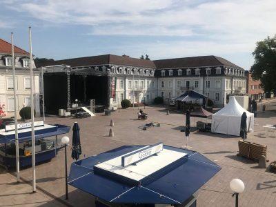Aufbau Bühne Herzogplatz Stadtfest Zweibrücken
